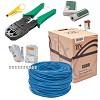 kit caixa cabo rede 305 mt azul 50 conectores rj45 alicate e testador