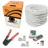 kit rede caixa cabo rede 305 mt branco 100 conectores rj45 alicate e testador
