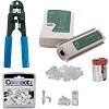 kit alicate de crimpar + testador de cabo + 50 conectores + 50 fixa cabos