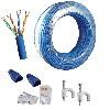 kit cabo de rede rolo  50 metros azul + 20 conectores e capas rj45 + 25 fixa fio
