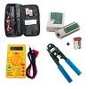 kit localizador de cabos tx1000 + testador e alicate de crimpar + multimetro