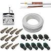 kit cabo bipolar 4mm cftv 200 metros + 32 conectores e fixa cabos