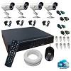 kit 4 cameras 800l externa infra + dvr 4 canais + acessórios