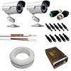 kit 2 cameras segurança externa ir 25 mt + 100mt cabo + fonte 10a + conectores