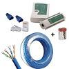 kit cabo de rede rolo  50 metros azul + testador + 50 conectores e 50 capas rj45