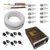 kit cabo cftv bipolar 100 mt + 10 conectores bnc + 10 conector borne + fonte 10a