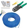kit cabo rede 50 metros azul 20 conector rj45 1 alicate crimpar e decapador