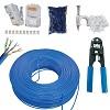 kit cabo de rede 50 metros azul 1 alicate crimpar 20 rj45 20 capas 50 fixa cabos