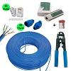 kit cabo rede 100 metros azul + 50 capa conector rj45 alicate crimpar e testador