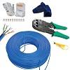 kit cabo de rede 50 metros azul 100% cobre + alicate crimpar 20 rj45 20 capas
