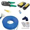 kit cabo de rede 50 metros azul 100% cobre + alicate crimpar 20 rj45 e testador